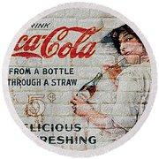 Vintage Coke Sign Round Beach Towel