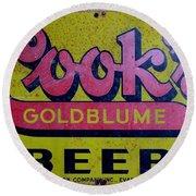 Vintage Cooks Goldblume Beer Sign Round Beach Towel