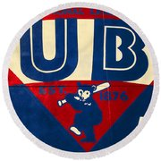 Vintage Cubs Spring Training Sign Round Beach Towel