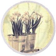 Vintage Daffodils Round Beach Towel