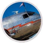 Vintage Dc-3 Airplane Round Beach Towel