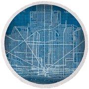 Vintage Detroit Rail Concept Street Map Blueprint Plan Round Beach Towel
