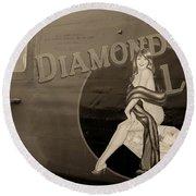 Vintage Diamon Lil B-24 Bomber Aircraft Round Beach Towel