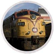 Vintage Diesel Locomotive Round Beach Towel