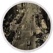 Vintage Downtown View Round Beach Towel
