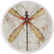Vintage Dragonfly-jp2563 Round Beach Towel