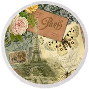 Vintage Eiffel Tower Paris France Collage Round Beach Towel