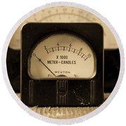 Vintage Electrical Meters Round Beach Towel