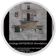 Vintage Enterprise Woodstove Round Beach Towel by Barbara Griffin