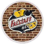 Vintage Falstaff Beer Shield Dsc07192 Round Beach Towel