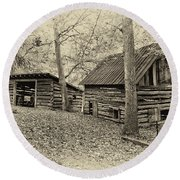 Vintage Farm Buildings Round Beach Towel