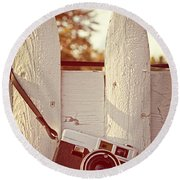 Vintage Film Camera On Picket Fence Round Beach Towel by Edward Fielding
