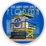 Vintage Florida Travel Style Artwork Round Beach Towel