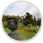 Vintage Flowerpots And Garden View - Powerscourt Garden Round Beach Towel