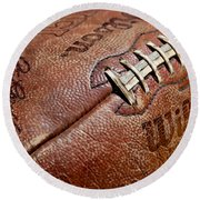 Vintage Football Round Beach Towel by Art Block Collections