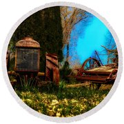 Vintage Fordson Tractor Round Beach Towel