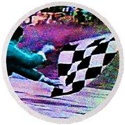 Vintage Formula 1 Race Checkered Flag  Round Beach Towel
