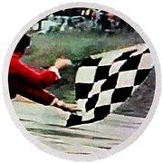 Vintage Formula Race Checkered Flag Round Beach Towel