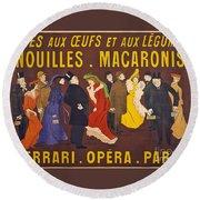 Vintage French Paris Opera Pasta Poster Round Beach Towel