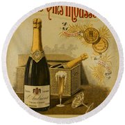 Vintage French Poster Andrieux Wine Round Beach Towel