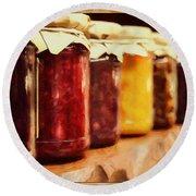 Vintage Fruit And Vegetable Preserves I Round Beach Towel