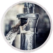 Vintage Ft. Worth Stockyards Water Pump Round Beach Towel