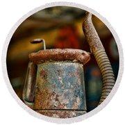 Vintage Garage Oil Can Round Beach Towel