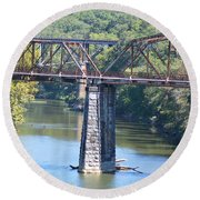 Vintage Garden City Bridge Round Beach Towel