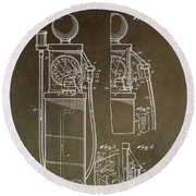 Vintage Gas Pump Patent Round Beach Towel