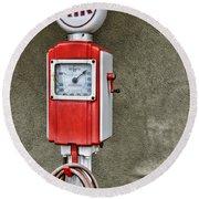 Vintage Gas Station Air Pump 2 Round Beach Towel