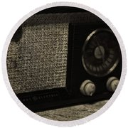 Vintage Ge Radio Round Beach Towel