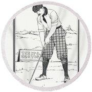 Vintage Golfer 1900 Round Beach Towel
