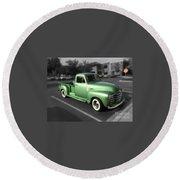 Vintage Green Chevy 3100 Truck Round Beach Towel