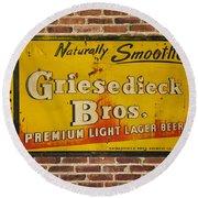 Vintage Griesedieck Bros Beer Dsc07192 Round Beach Towel