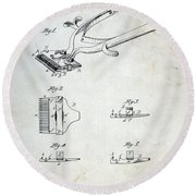 Vintage Hair Clippers Patent Round Beach Towel