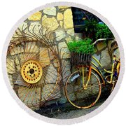 Antique Store Hay Rake And Bicycle Round Beach Towel