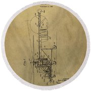 Vintage Helicopter Patent Round Beach Towel
