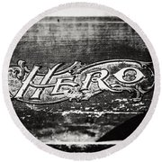 Vintage Hero Sign In Black And White  Round Beach Towel