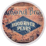 Vintage Hood River Pear Crate Round Beach Towel
