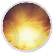 Vintage Image Of Sunset Sky With Dark Dramatic Clouds Round Beach Towel