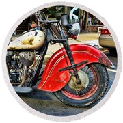 Vintage Indian Motorcycle - Live To Ride Round Beach Towel