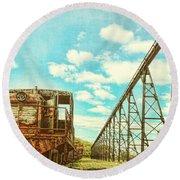 Vintage Industrial Postcard Round Beach Towel