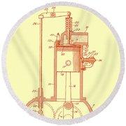 Vintage Internal Combustion Engine Patent 1940 Round Beach Towel