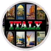 Vintage Italy Travel Posters Round Beach Towel