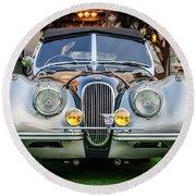 Vintage Jaguar -0924c Round Beach Towel