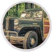 Vintage Jeep Station Wagon Round Beach Towel