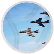 Vintage Jetplanes In Formation. Round Beach Towel