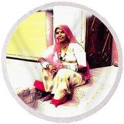 Vintage Just Sitting 2 - Woman Portrait - Indian Village Rajasthani Round Beach Towel