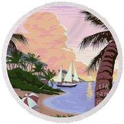 Vintage Key West Travel Poster Round Beach Towel