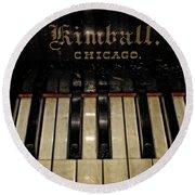 Vintage Kimball Piano Round Beach Towel